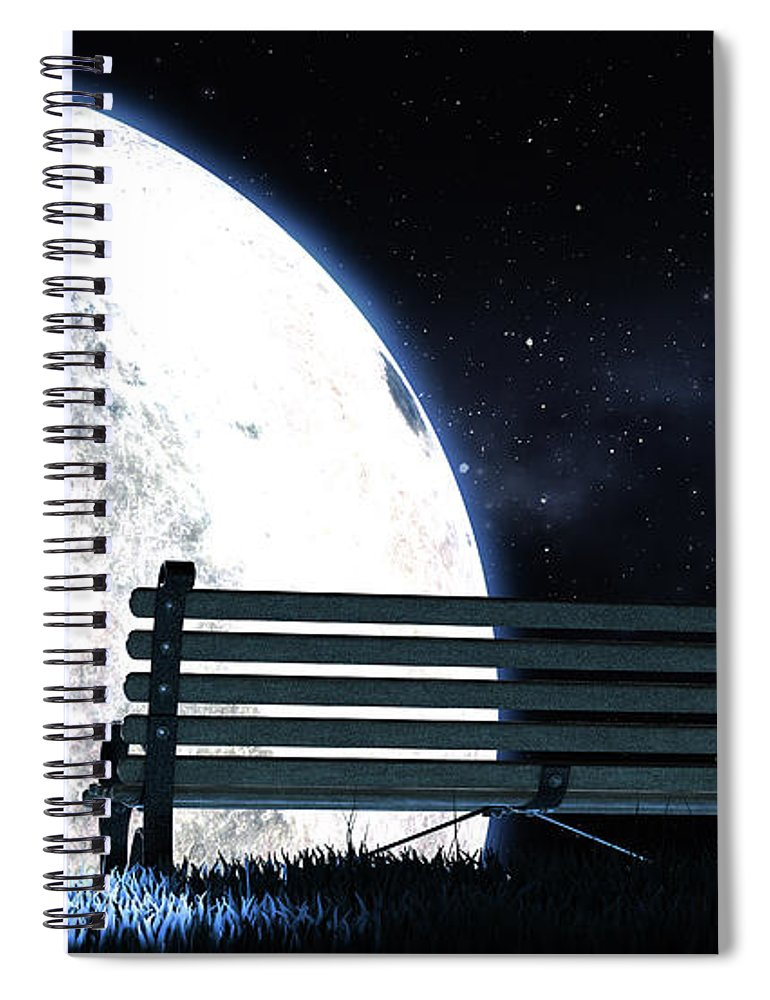 Moon Spiral Notebook featuring the digital art Empty Bench And Moon Silhouette 1 by Allan Swart