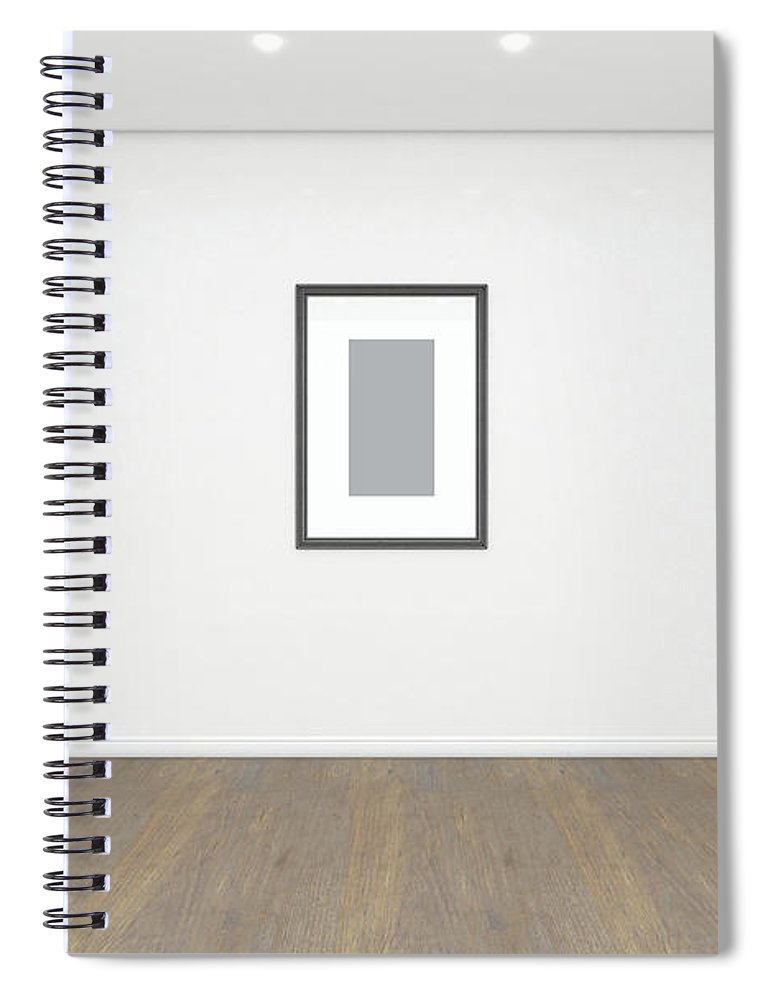 Picture Spiral Notebook featuring the digital art Empty Gallery Room And Picture 1 by Allan Swart