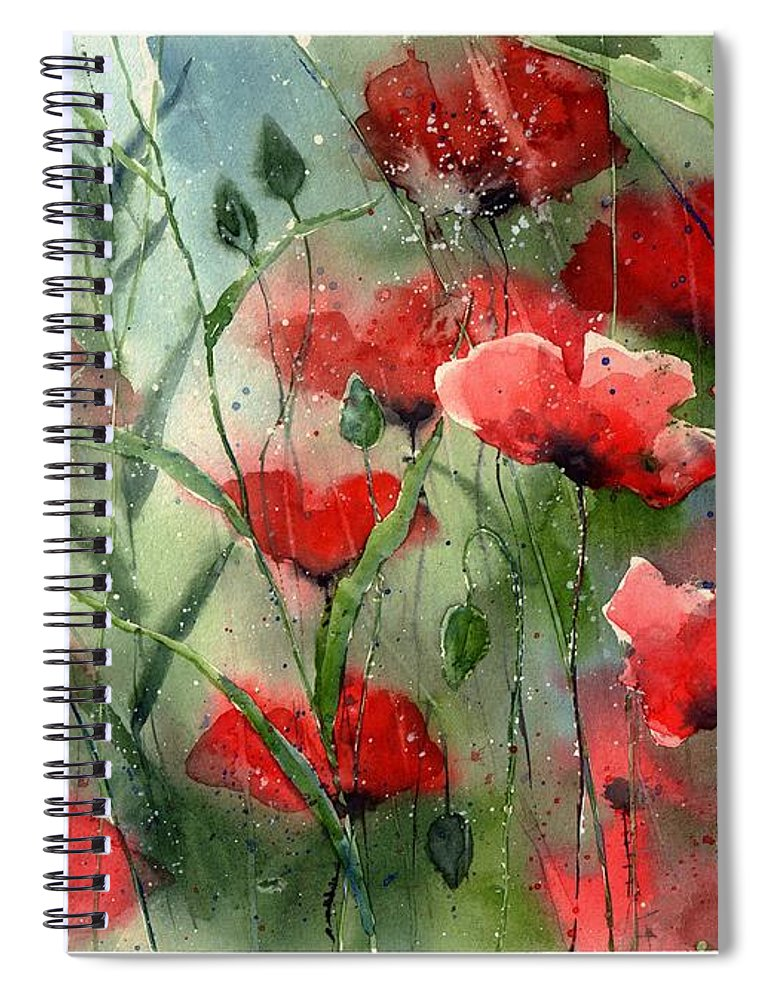 Red Spiral Notebook featuring the painting Everything About Poppies by Suzann Sines