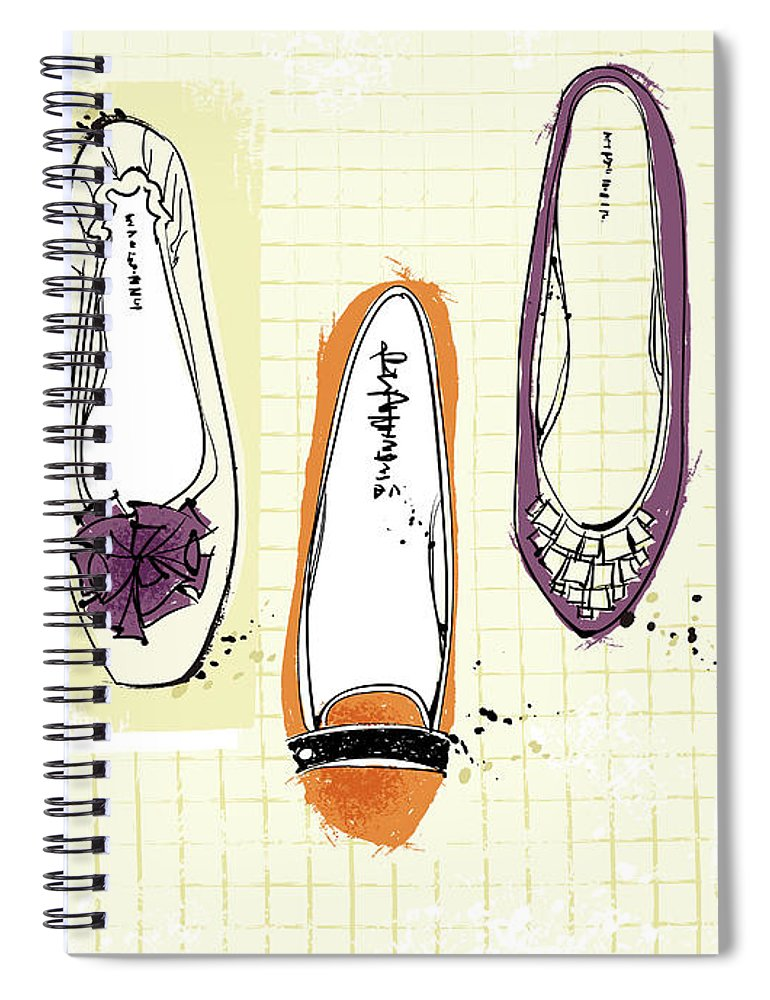 Purple Spiral Notebook featuring the digital art Feminine Shoes by Eastnine Inc.