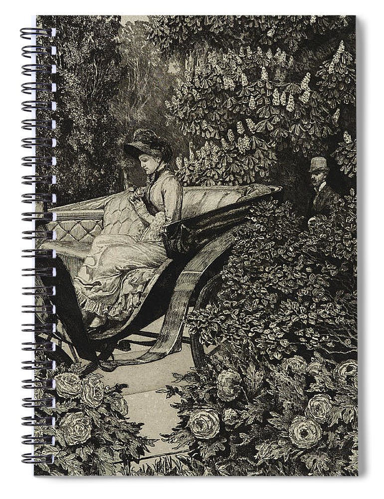 Love At First Sight Spiral Notebook featuring the drawing First Encounter by Max Klinger