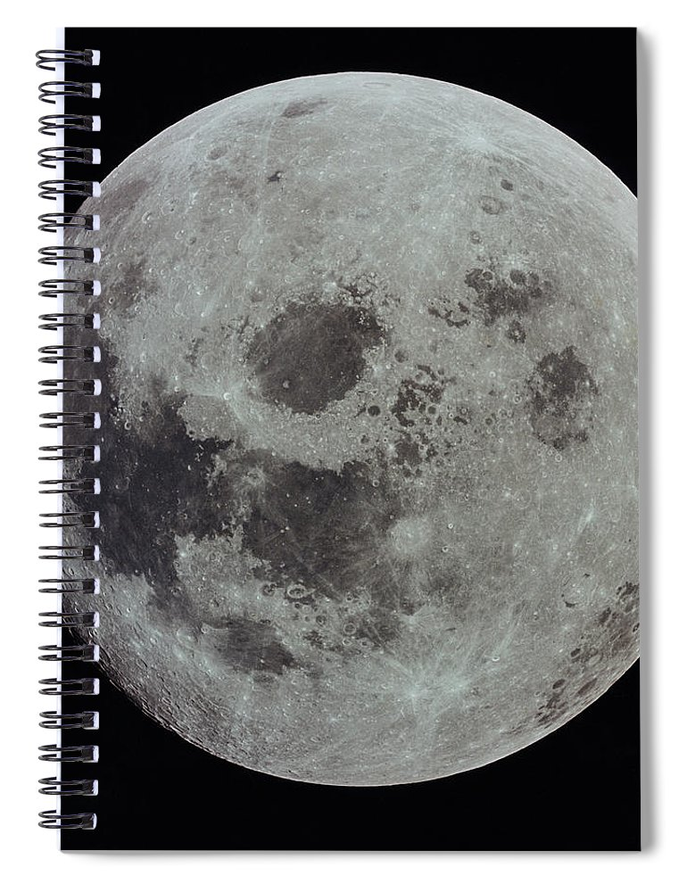 Black Background Spiral Notebook featuring the photograph Full Moon by Nasa