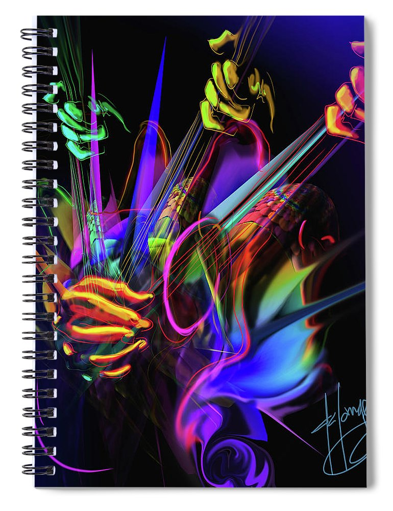 Guitar 300 Spiral Notebook featuring the painting Guitar 3000 by DC Langer