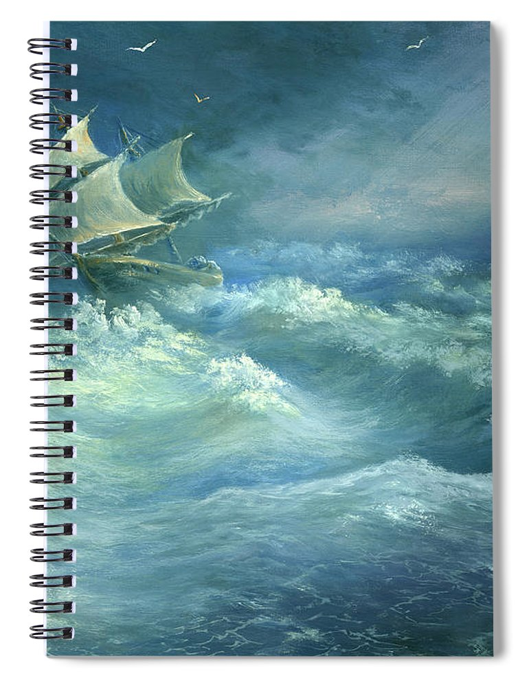Curve Spiral Notebook featuring the digital art Heavy Gale by Pobytov