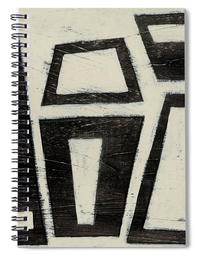 Abstract Spiral Notebook featuring the painting Hieroglyph Vii by June Erica Vess