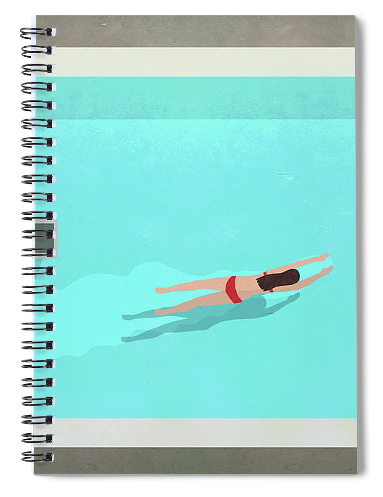 Recreational Pursuit Spiral Notebook featuring the digital art Illustration Of Woman Swimming In Pool by Malte Mueller