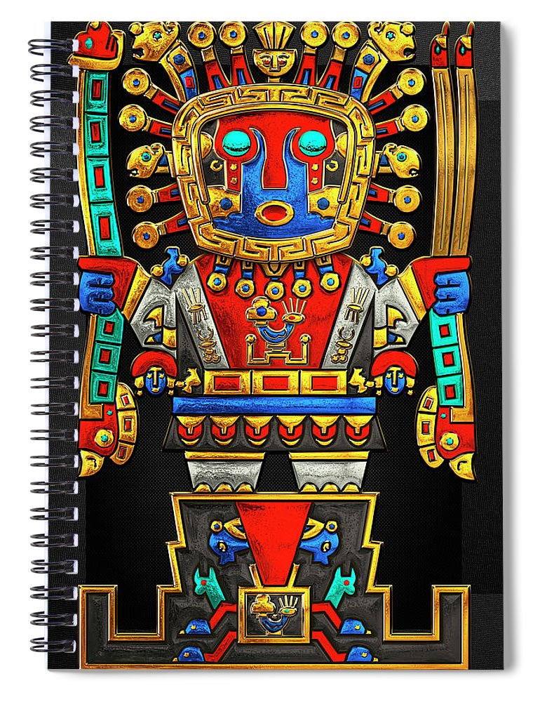 'treasures Of Pre-columbian America' Collection By Serge Averbukh Spiral Notebook featuring the photograph Incan Gods - The Great Creator Viracocha On Black Canvas by Serge Averbukh