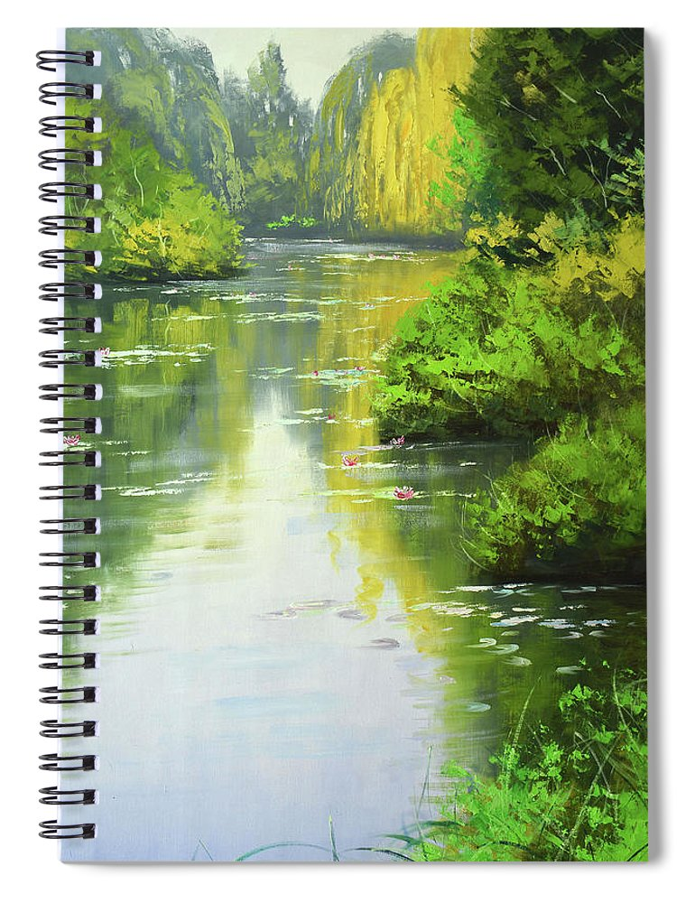 Rivers Spiral Notebook featuring the painting lily Pond reflections by Graham Gercken
