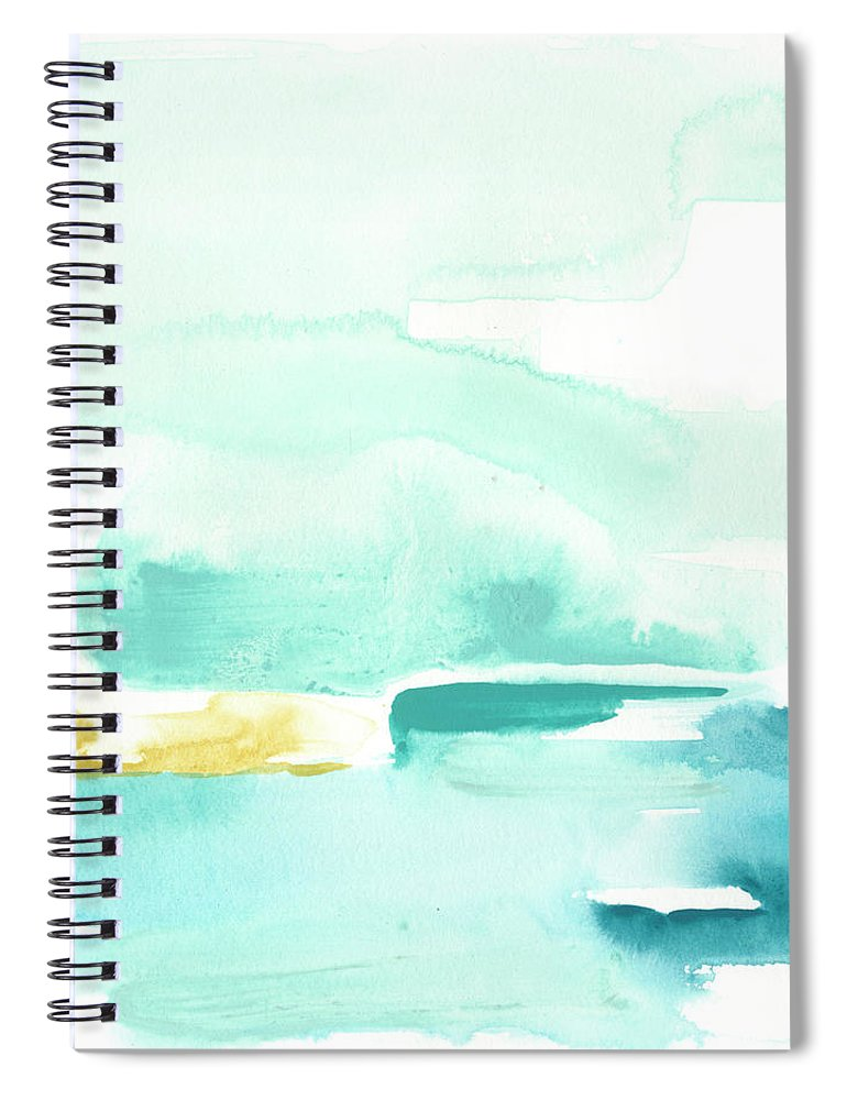 Landscapes Spiral Notebook featuring the painting Liquid Shoreline II by June Erica Vess