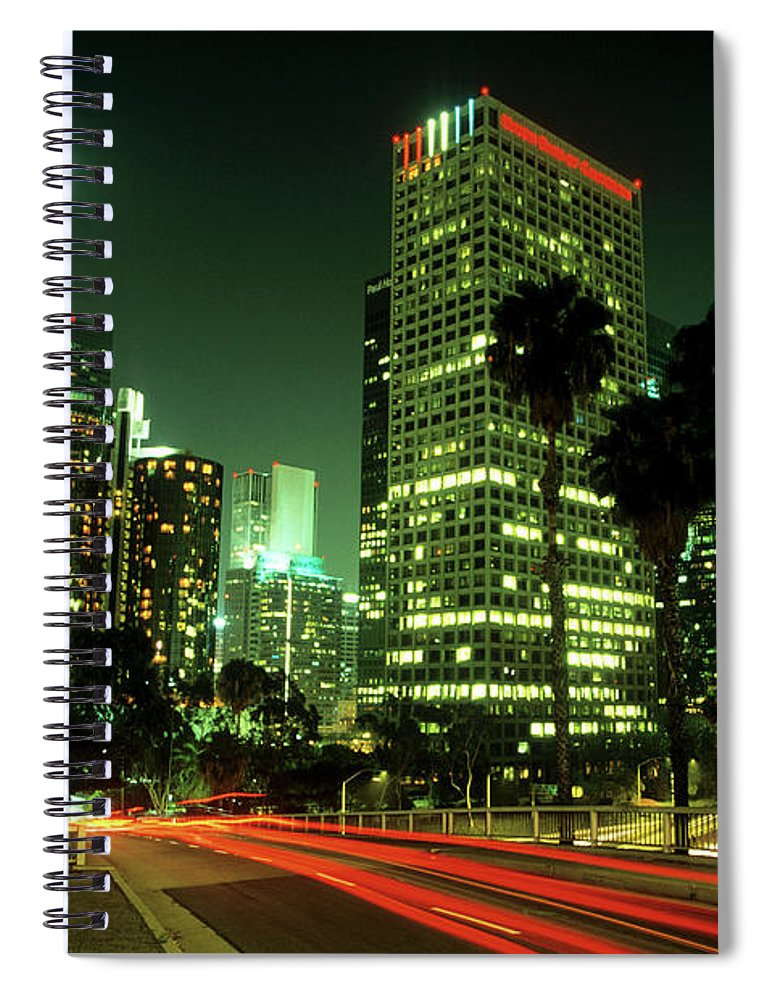 Downtown District Spiral Notebook featuring the photograph Los Angeles Skyline At Night by Hisham Ibrahim