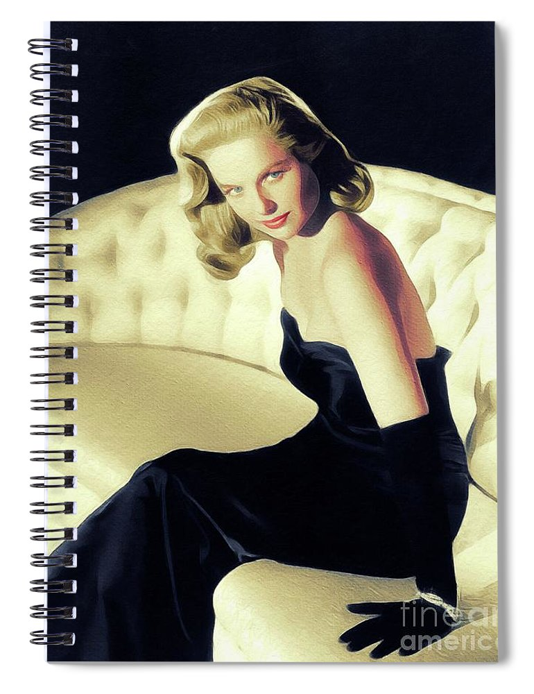 Martha Spiral Notebook featuring the painting Martha Hyer, Vintage Actress by John Springfield