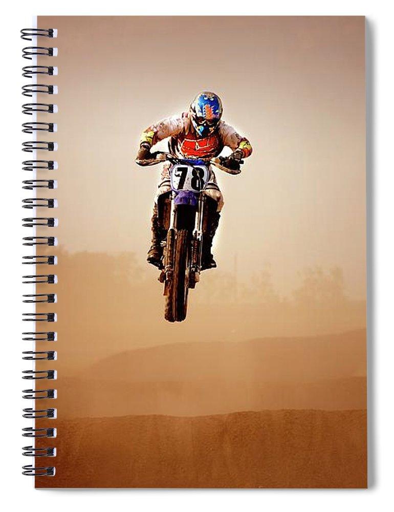 Crash Helmet Spiral Notebook featuring the photograph Motocross Rider by Design Pics