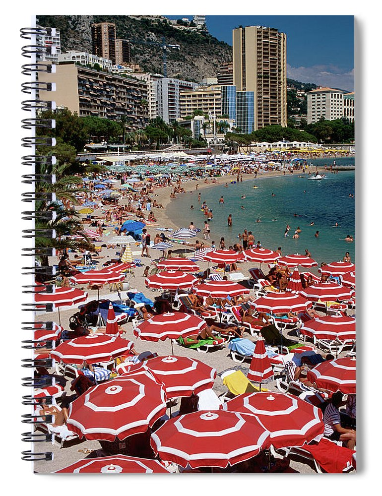 Shadow Spiral Notebook featuring the photograph Overhead Of Red Sun Umbrellas At by Dallas Stribley