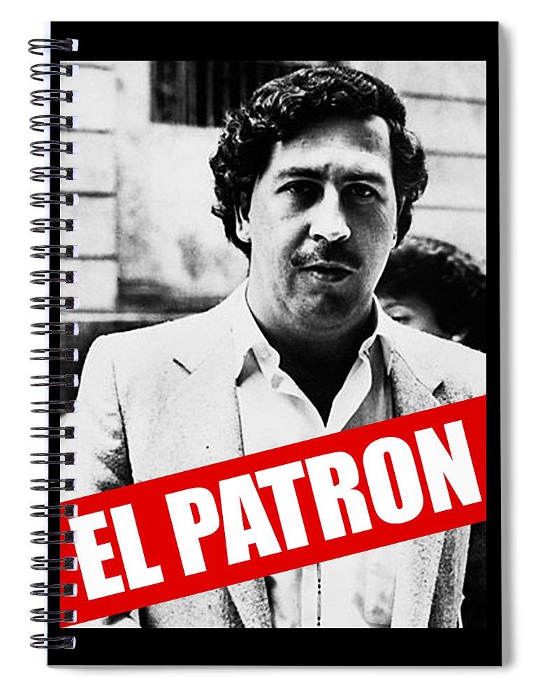 Drugplane Spiral Notebook featuring the digital art Pablo Escobar by Mimi Kiki