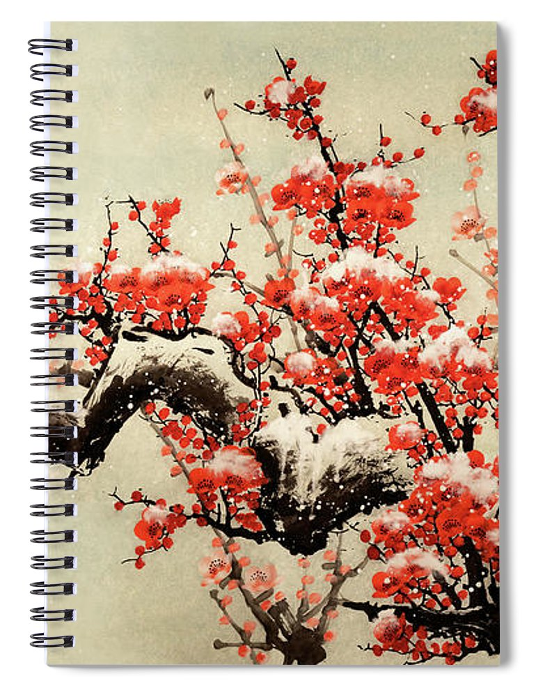Chinese Culture Spiral Notebook featuring the digital art Plum Blossom by Vii-photo