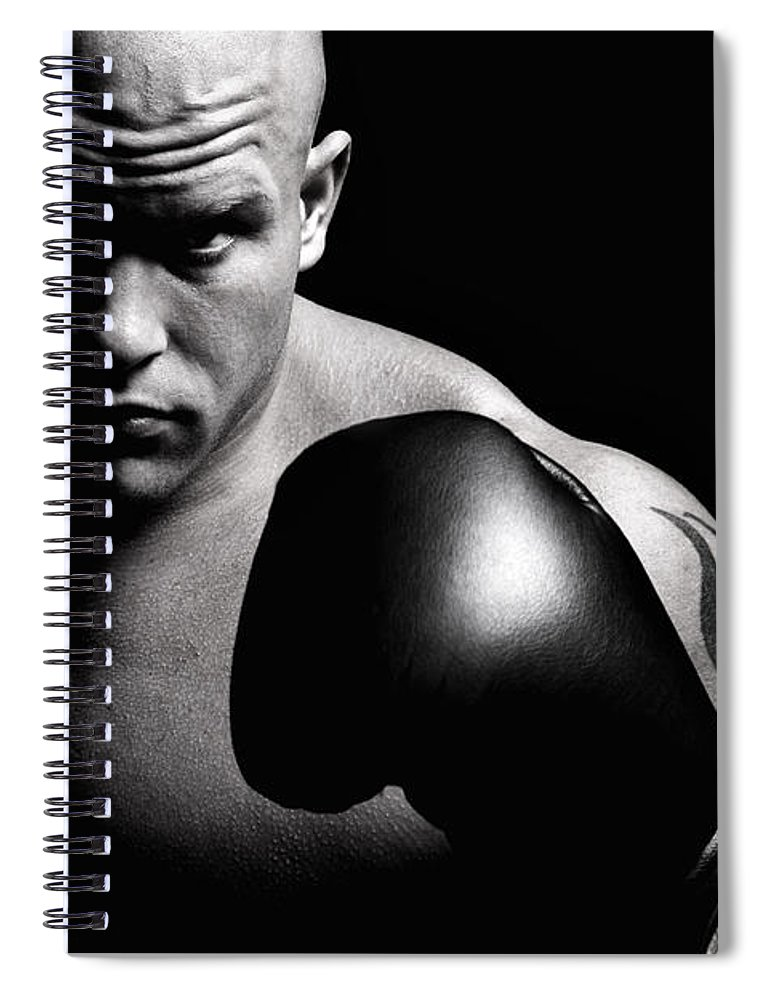 Toughness Spiral Notebook featuring the photograph Powerful Fighter Portrait by Vuk8691