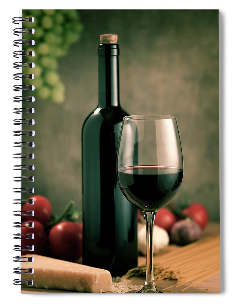 Cheese Spiral Notebook featuring the photograph Red Wine And Food, Italian Style by Kontrast-fotodesign