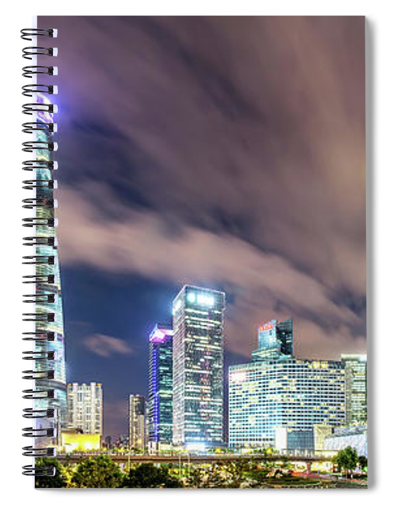 Panoramic Spiral Notebook featuring the photograph Shanghai Skyline by Junyyeung