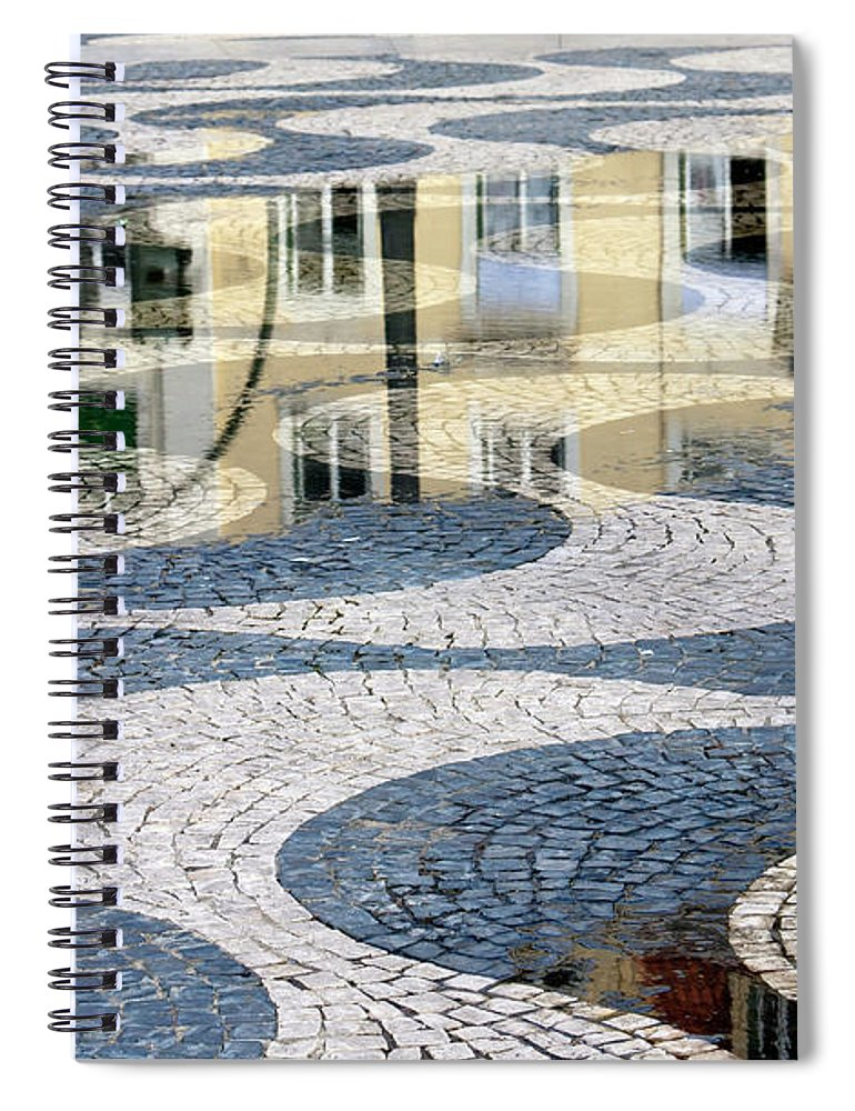 Curve Spiral Notebook featuring the photograph Sidewalk In Lisbon, Portugal by Typo-graphics