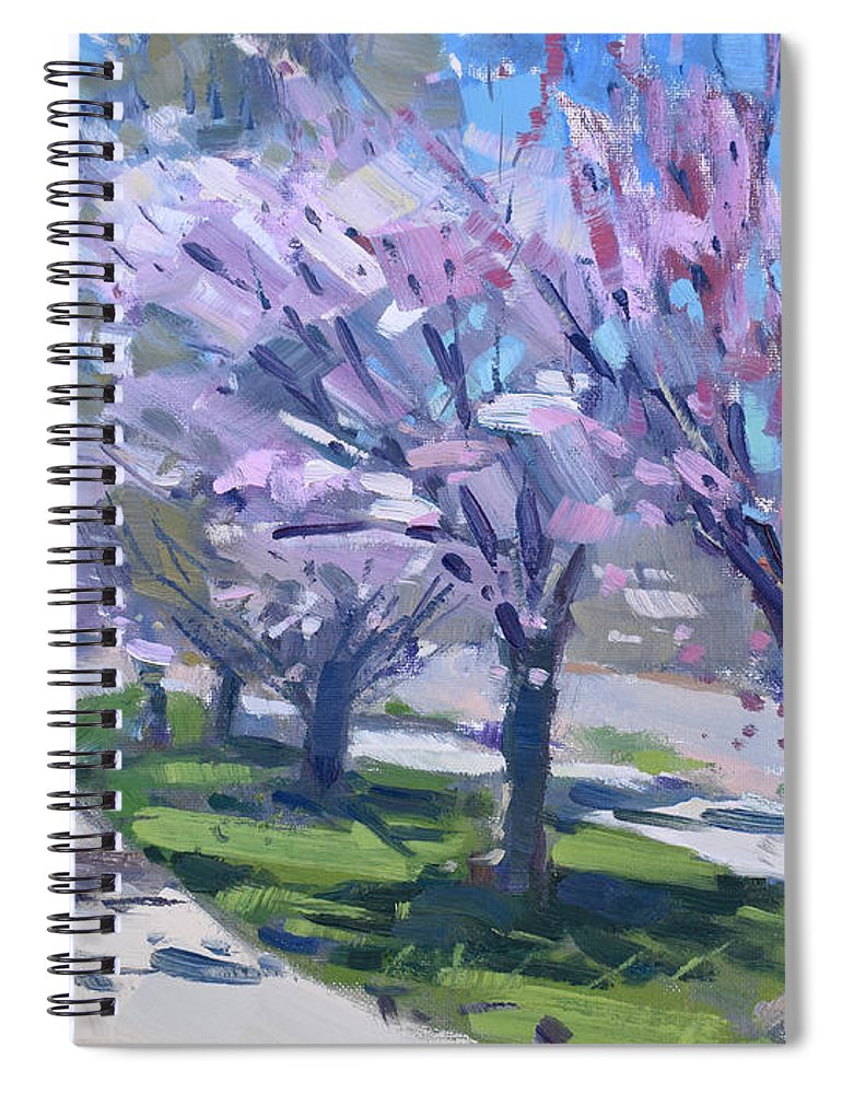 Spring Spiral Notebook featuring the painting Spring Blossom by Ylli Haruni