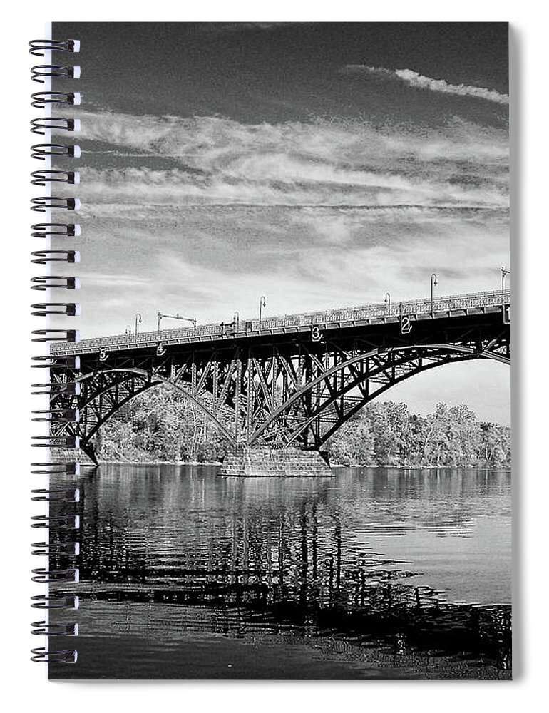 Spiral Notebook featuring the photograph Strawberry Mansion Bridge by Louis Dallara