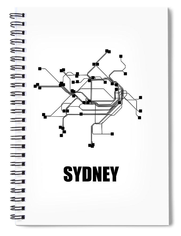 Sydney Spiral Notebook featuring the digital art Sydney White Subway Map 1 by Naxart Studio