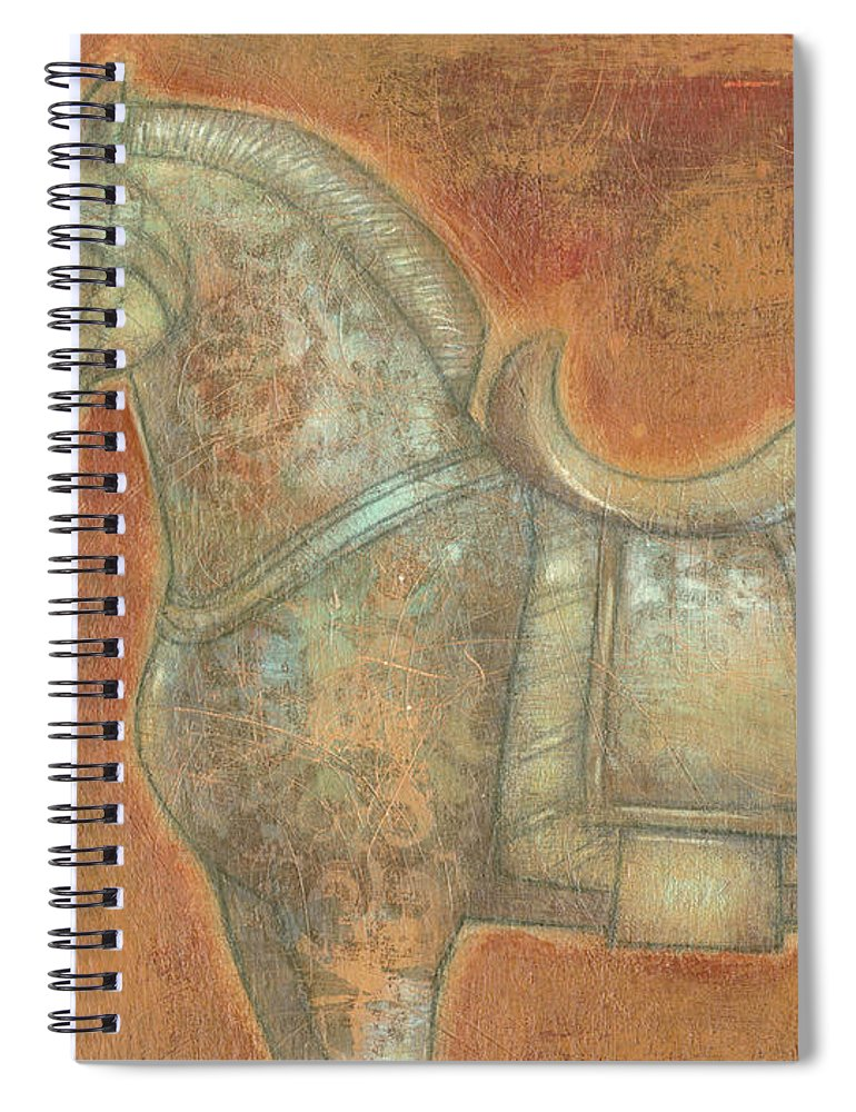 Transitional Spiral Notebook featuring the painting Tang Horse II by Norman Wyatt