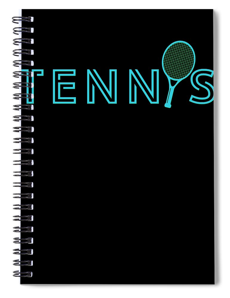 Tennis Spiral Notebook featuring the digital art Tennis Player Ball Racket Serve Game I Love Tennis by TeeQueen2603