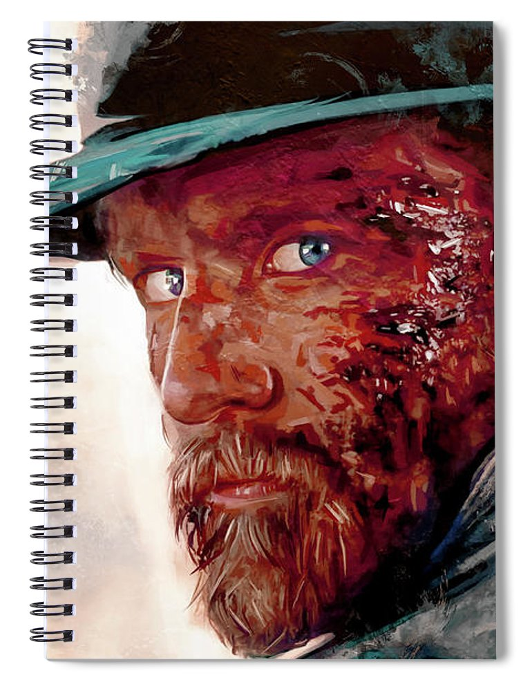 Cowboy Spiral Notebook featuring the painting The Wounded Cowboy by Joseph Oland