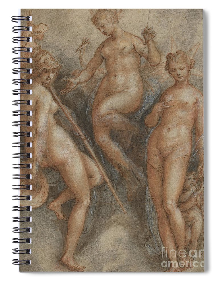 Mythology Spiral Notebook featuring the drawing Three Goddesses Minerva, Juno And Venus by Jan van der Straet