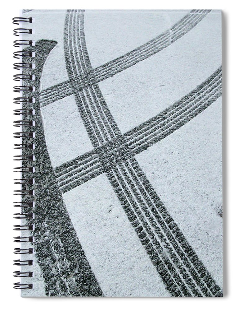 Black Color Spiral Notebook featuring the photograph Tire Tracks In Snow, Winter by Jerry Whaley