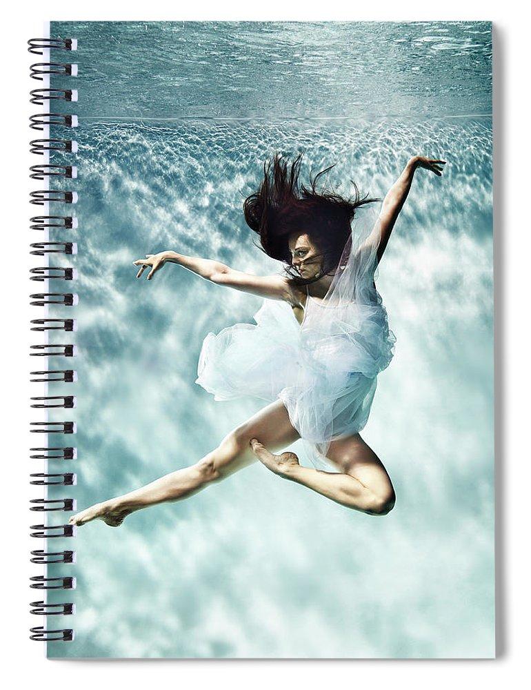 Ballet Dancer Spiral Notebook featuring the photograph Underwater Ballet by Henrik Sorensen