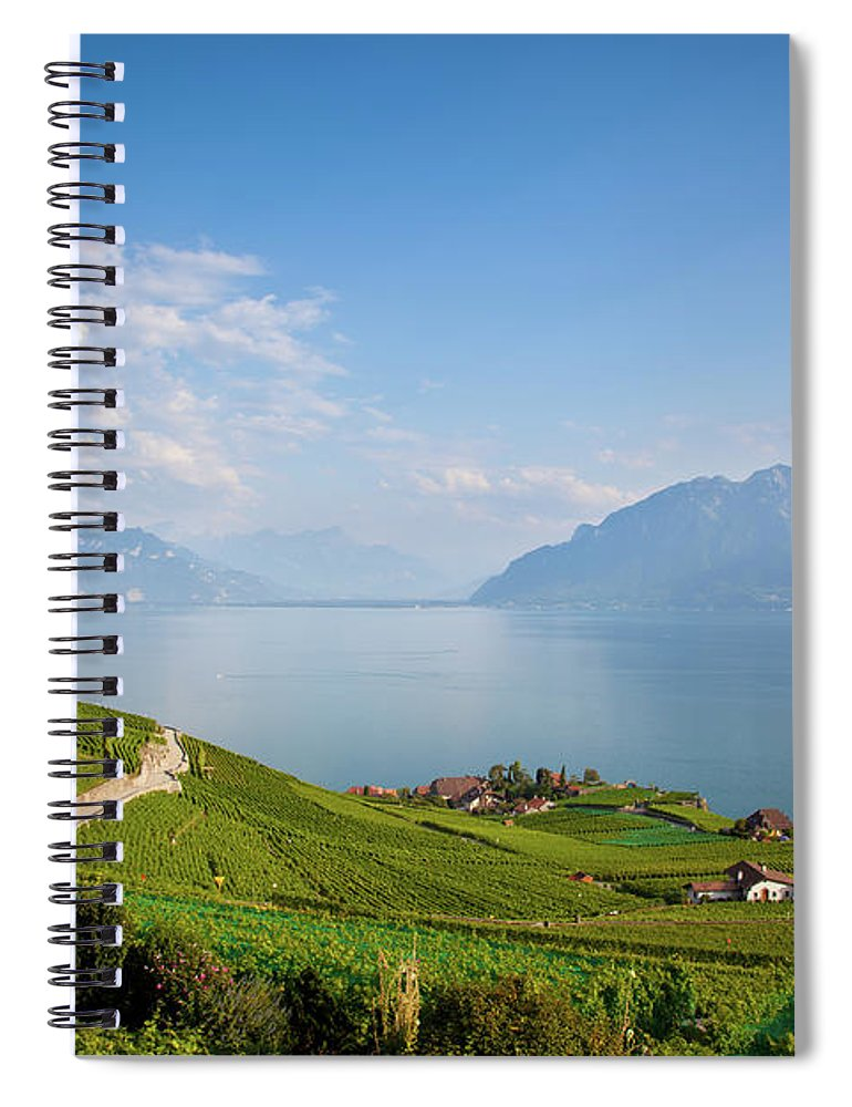 Alcohol Spiral Notebook featuring the photograph Vineyards Around Lake Leman by Onfokus