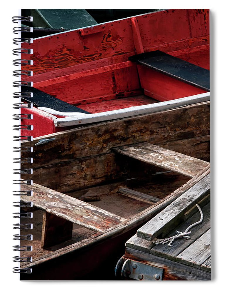 Transportation Spiral Notebook featuring the photograph Wooden Rowboats X by Rachel Perry