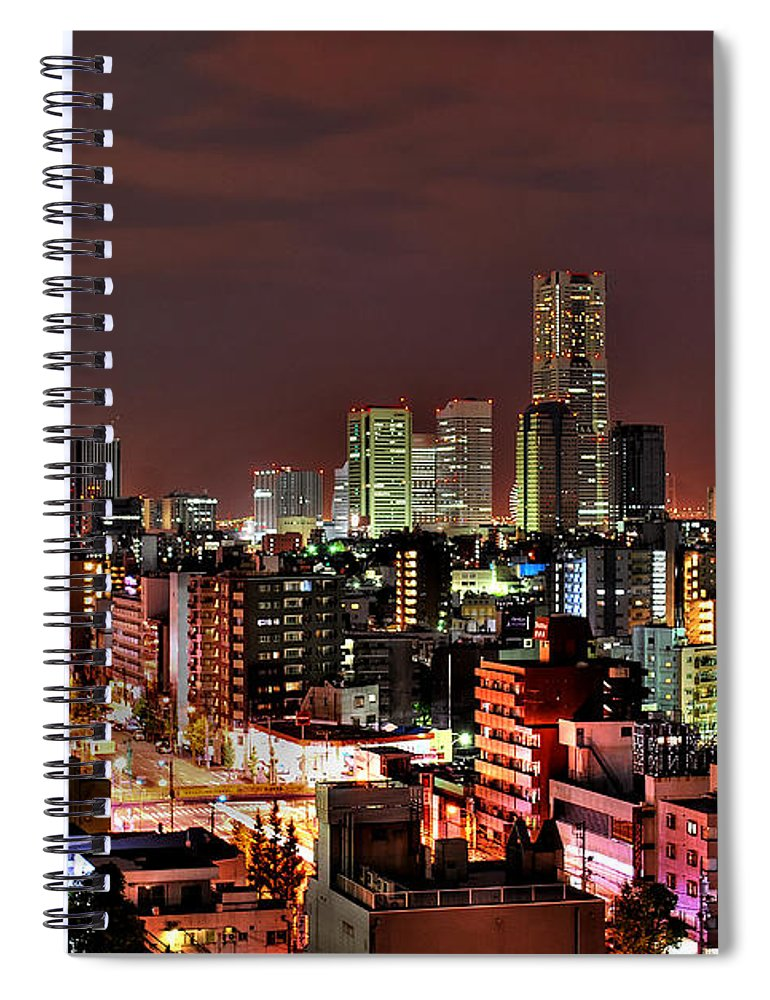 Tranquility Spiral Notebook featuring the photograph Yokohama Nightscape by Copyright Artem Vorobiev