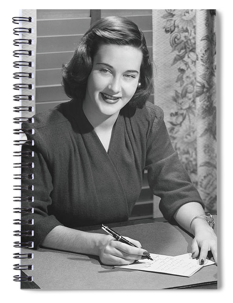 People Spiral Notebook featuring the photograph Young Woman Writing Letter At Desk, B&w by George Marks