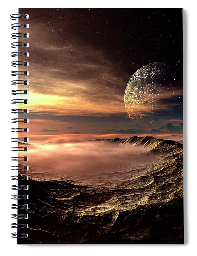 Concepts & Topics Spiral Notebook featuring the digital art Alien Planet, Artwork by Mehau Kulyk