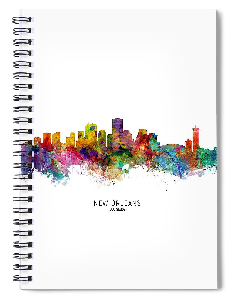 New Orleans Spiral Notebook featuring the digital art New Orleans Louisiana Skyline by Michael Tompsett