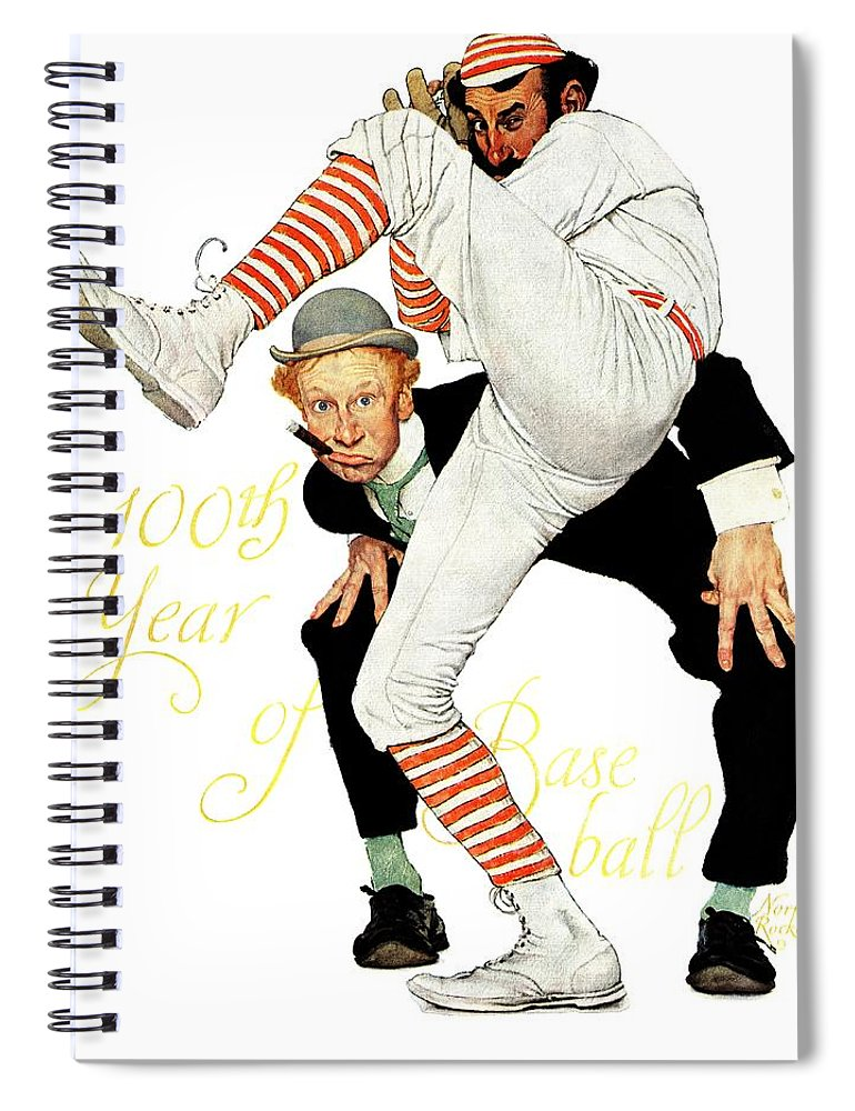 Anniversaries Spiral Notebook featuring the drawing 100th Anniversary Of Baseball by Norman Rockwell
