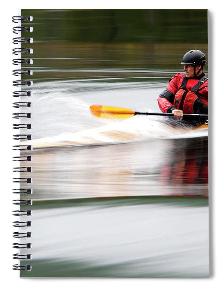 Sports Helmet Spiral Notebook featuring the photograph Cedar Strip Kayak by Steve Glass