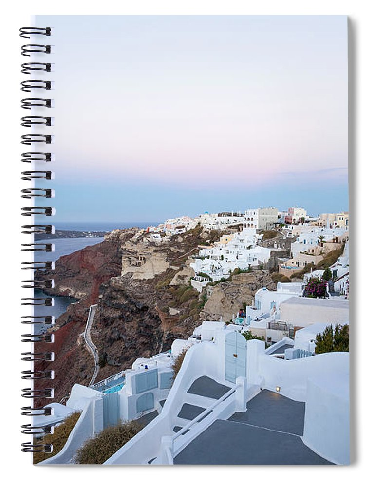 Tranquility Spiral Notebook featuring the photograph Santorini Greece by Neil Emmerson