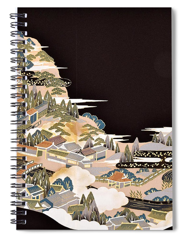 Spiral Notebook featuring the digital art Spirit of Japan T72 by Miho Kanamori