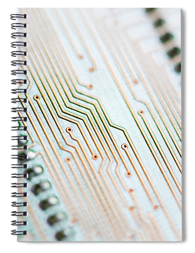 Electrical Component Spiral Notebook featuring the photograph Close-up Of A Circuit Board by Nicholas Rigg