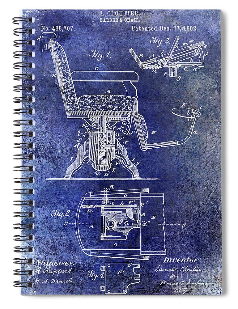 Barber Chair Patent Drawing Blueprint Spiral Notebook featuring the photograph 1892 Barbers Chair Patent Blue by Jon Neidert