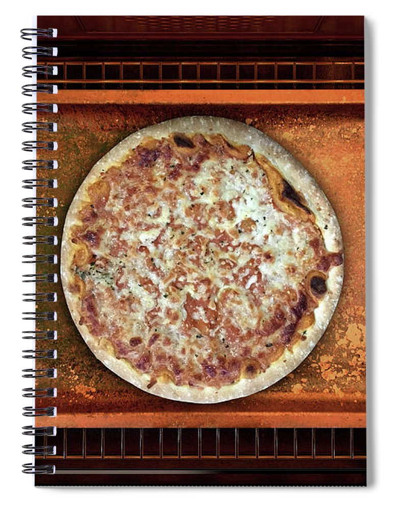 Pizza Spiral Notebook featuring the digital art Inside The Oven 19 by Allan Swart