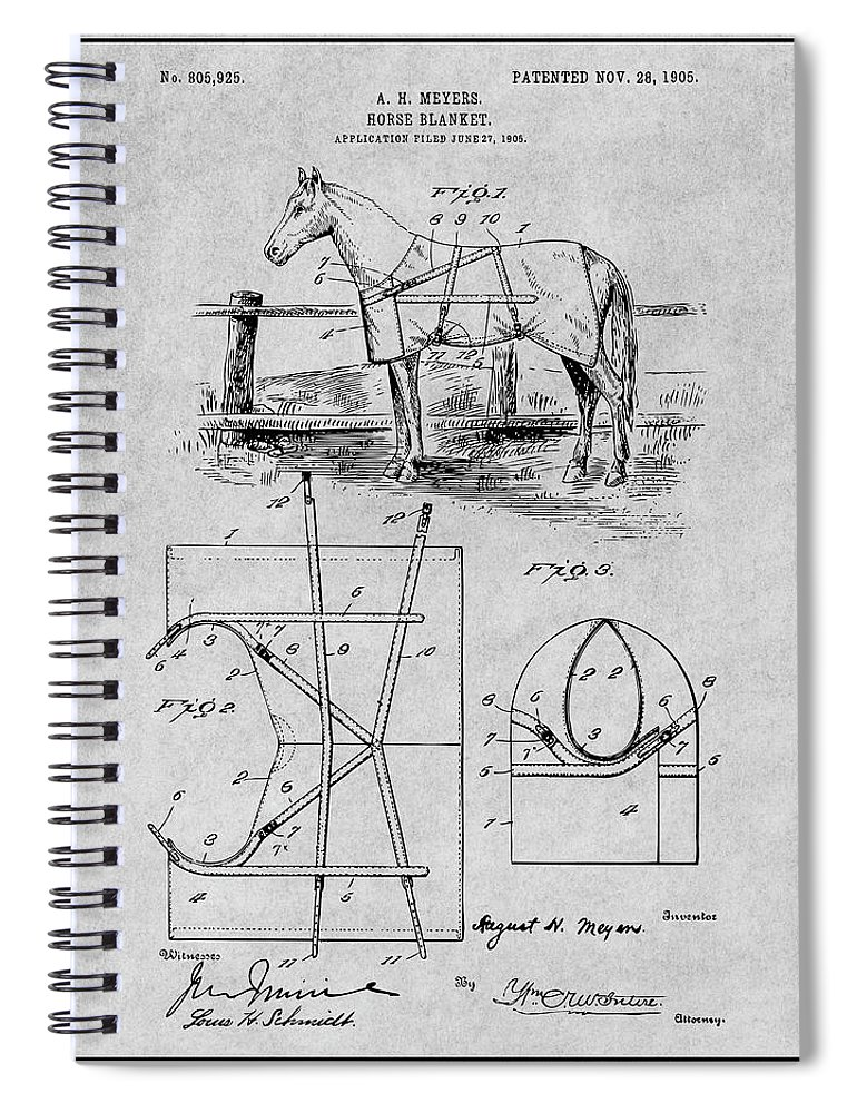 Art & Collectibles Spiral Notebook featuring the drawing 1905 Horse Blanket Patent Print Gray by Greg Edwards