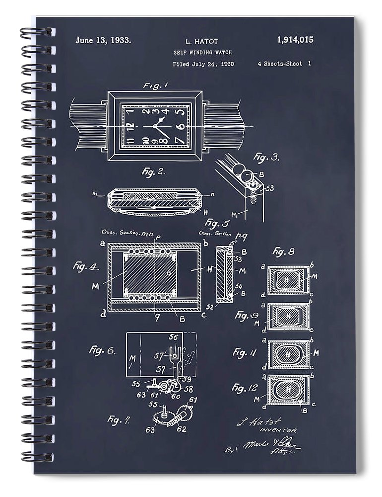 Art & Collectibles Spiral Notebook featuring the drawing 1930 Leon Hatot Self Winding Watch Patent Print Blackboard by Greg Edwards