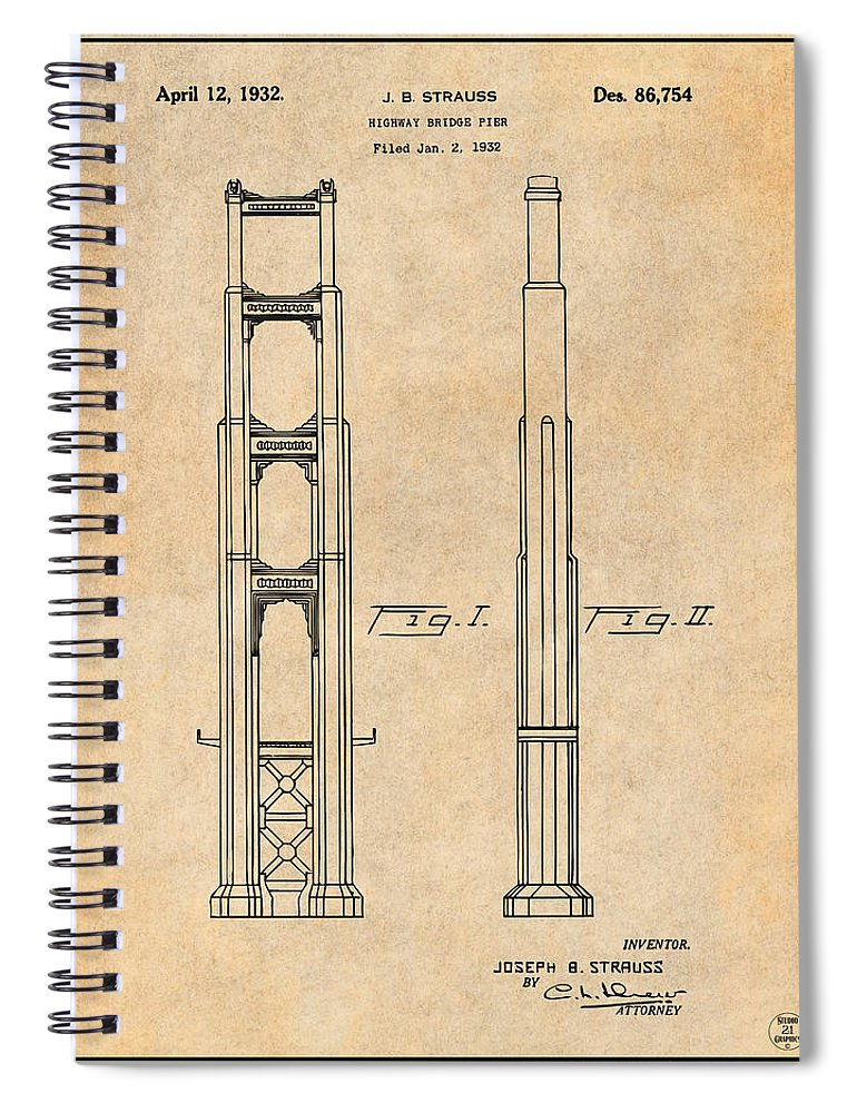 1932 San Francisco Golden Gate Bridge Antique Paper Patent Print Spiral Notebook featuring the drawing 1932 San Francisco Golden Gate Bridge Antique Paper Patent Print by Greg Edwards