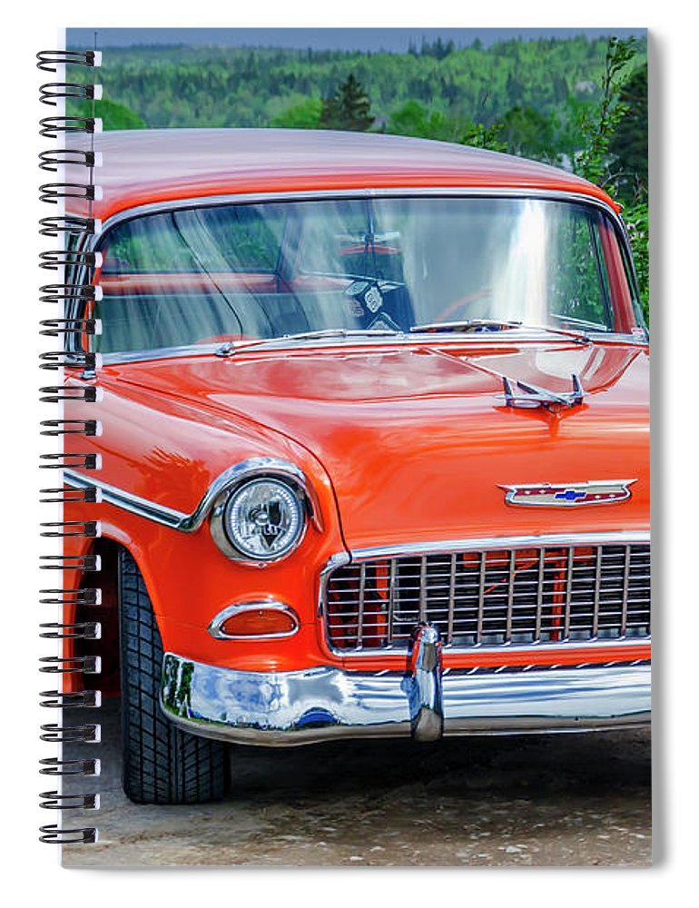 1955 Spiral Notebook featuring the photograph 1955 Chevrolet Bel Air Nomad by Ken Morris