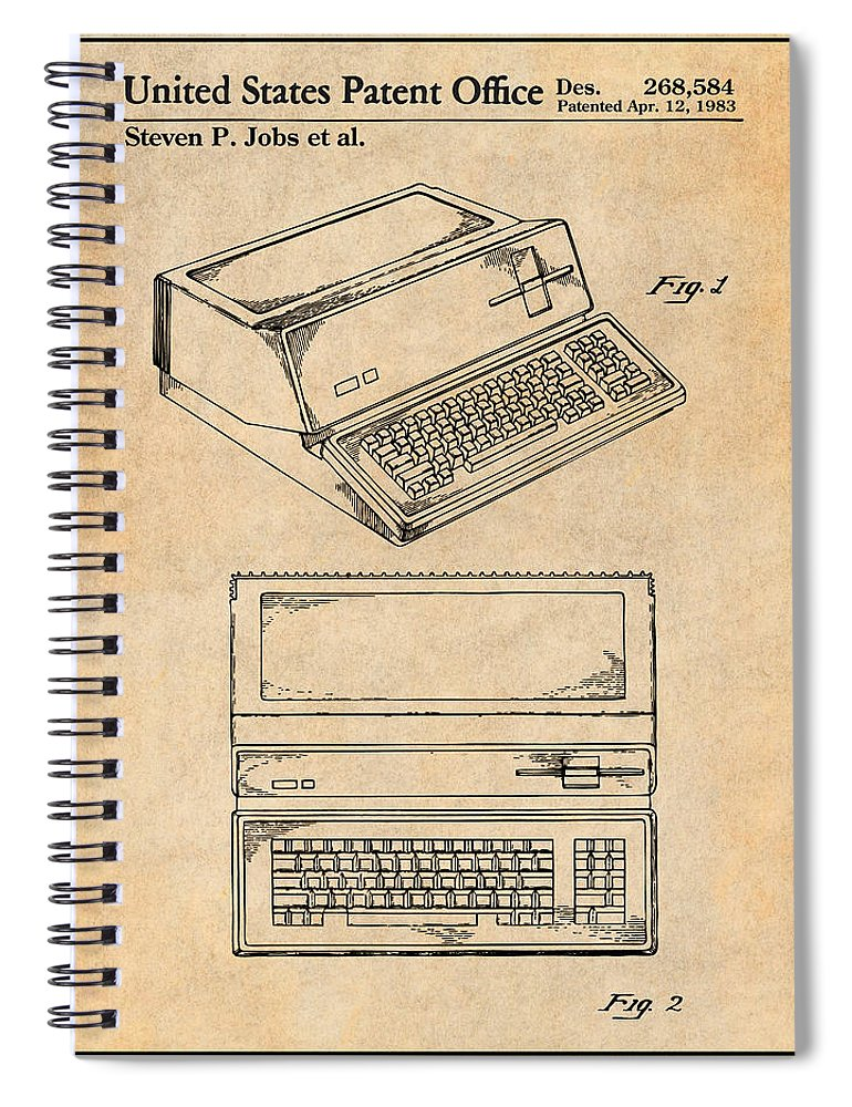 1983 Steve Jobs Apple Personal Computer Patent Print Spiral Notebook featuring the drawing 1983 Steve Jobs Apple Personal Computer Antique Paper Patent Print by Greg Edwards